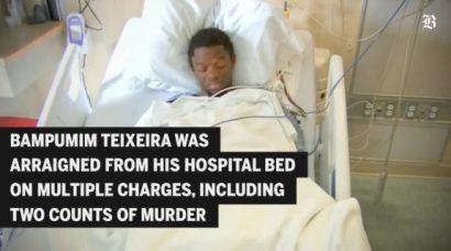 O suspeito ouviu seu indiciamento em uma cama de hospital